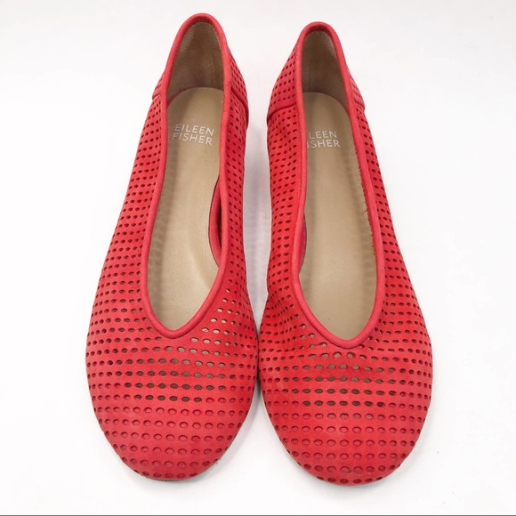 Eileen Fisher Red Orange Perforated Lasercut Flats